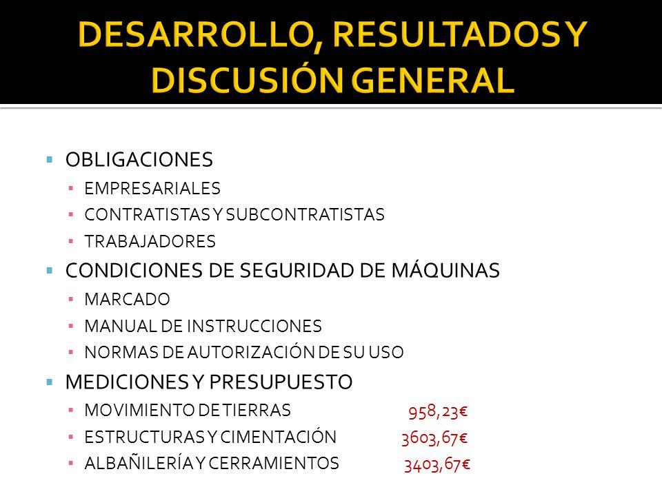 DESARROLLO, RESULTADOS Y DISCUSIÓN GENERAL