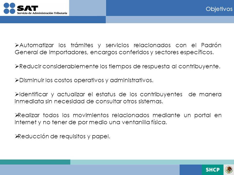 Objetivos Automatizar los trámites y servicios relacionados con el Padrón General de Importadores, encargos conferidos y sectores específicos.