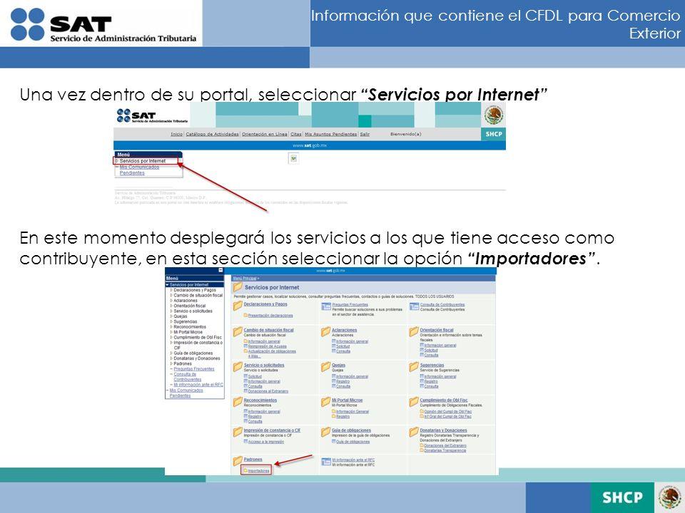 Una vez dentro de su portal, seleccionar Servicios por Internet