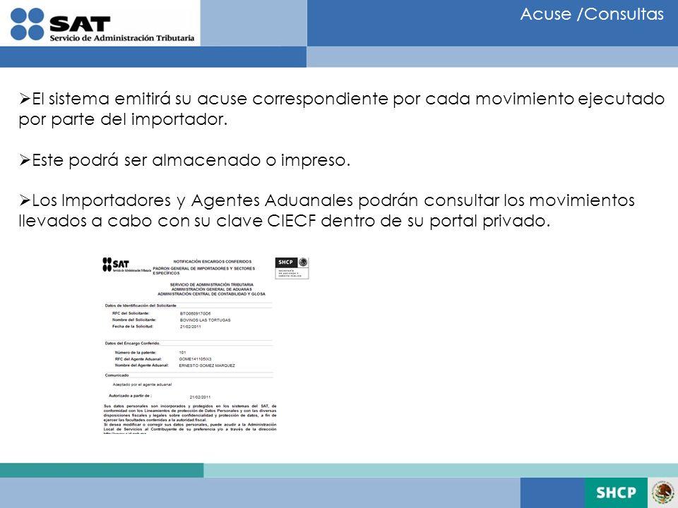 Acuse /Consultas El sistema emitirá su acuse correspondiente por cada movimiento ejecutado. por parte del importador.