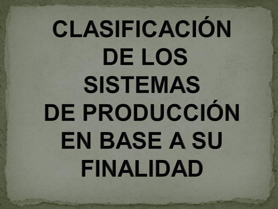 CLASIFICACIÓN DE LOS SISTEMAS DE PRODUCCIÓN EN BASE A SU FINALIDAD
