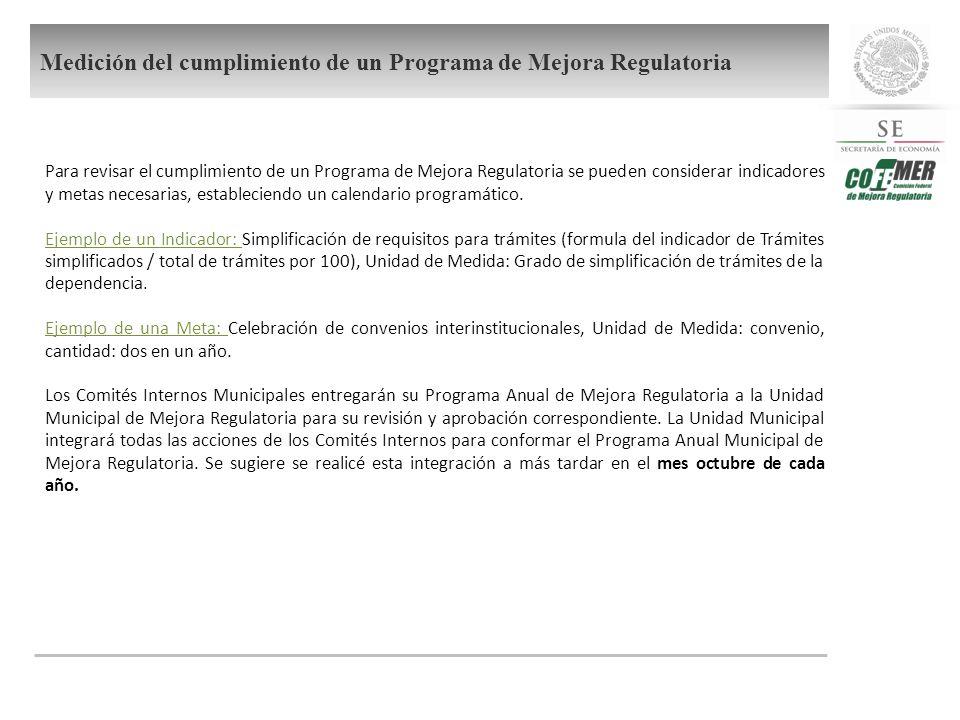 Medición del cumplimiento de un Programa de Mejora Regulatoria