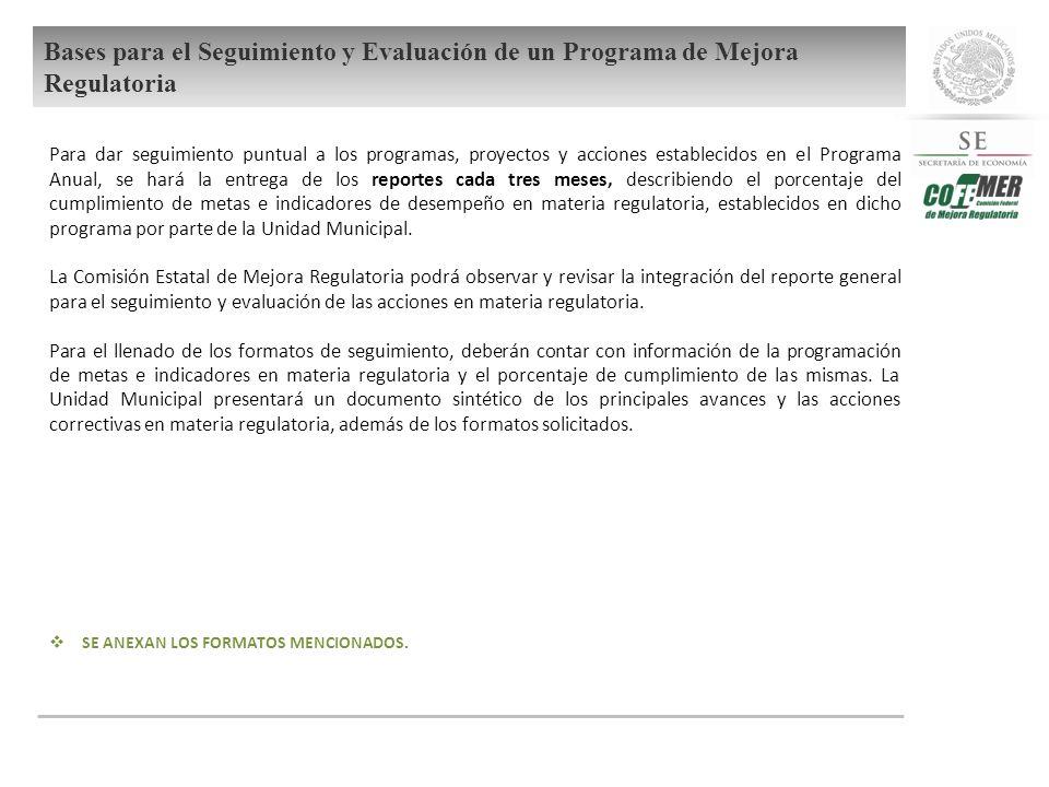 Bases para el Seguimiento y Evaluación de un Programa de Mejora Regulatoria