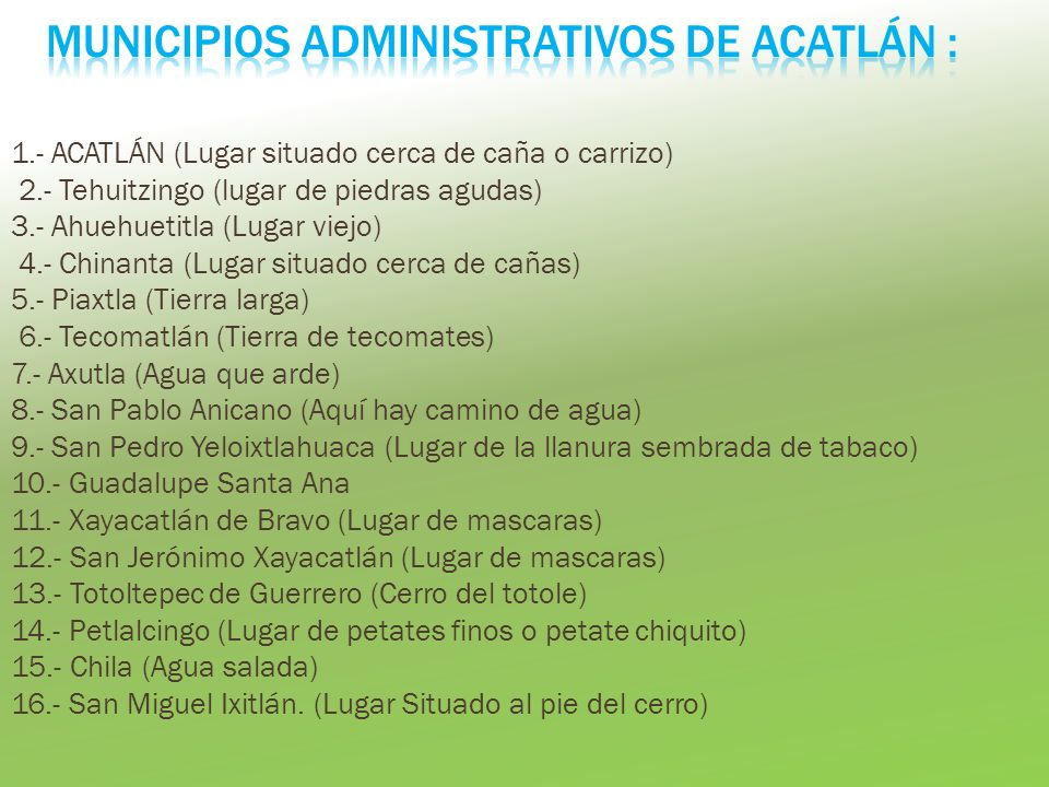 Municipios Administrativos de Acatlán :