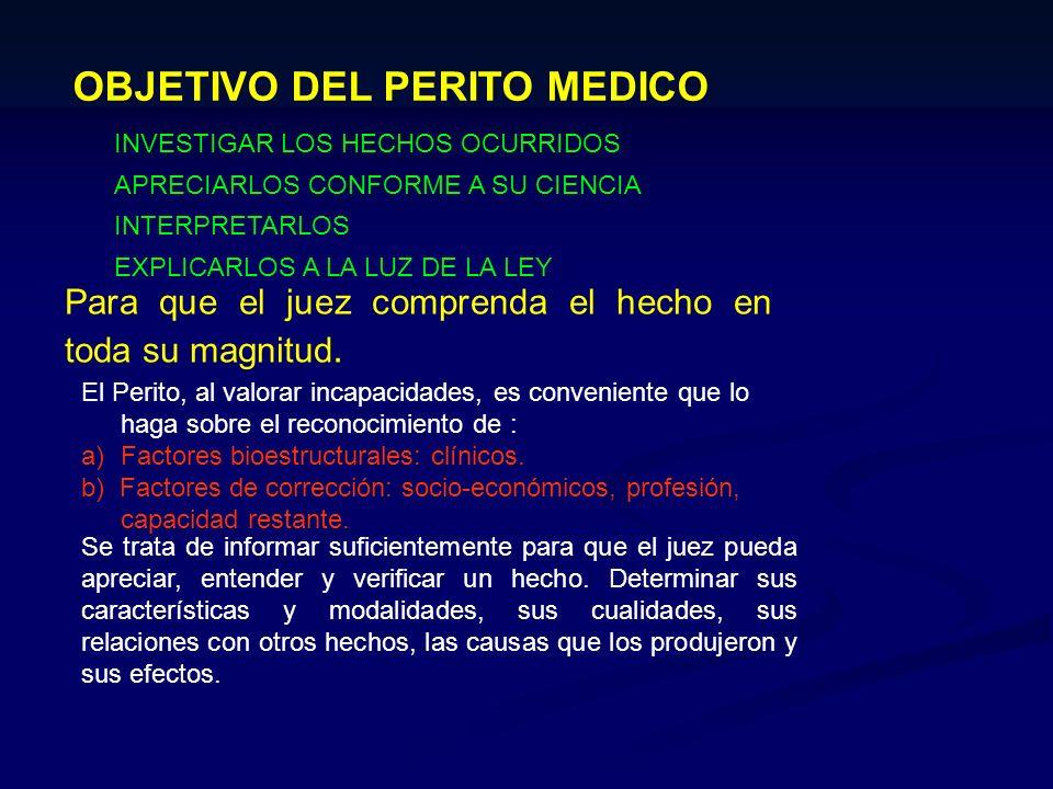 OBJETIVO DEL PERITO MEDICO