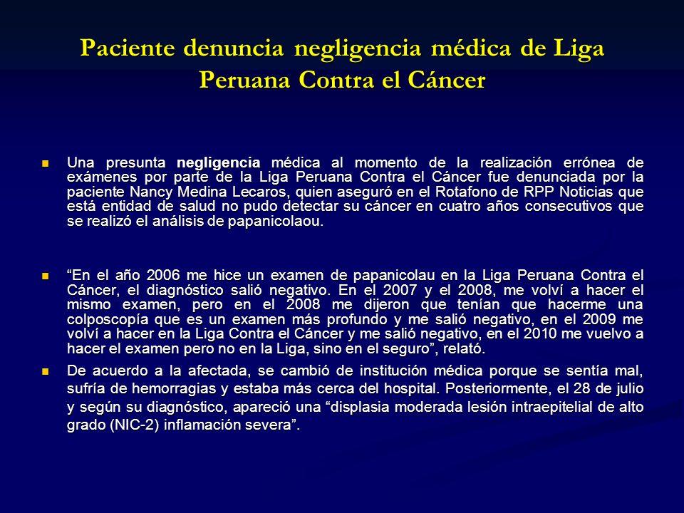 Paciente denuncia negligencia médica de Liga Peruana Contra el Cáncer