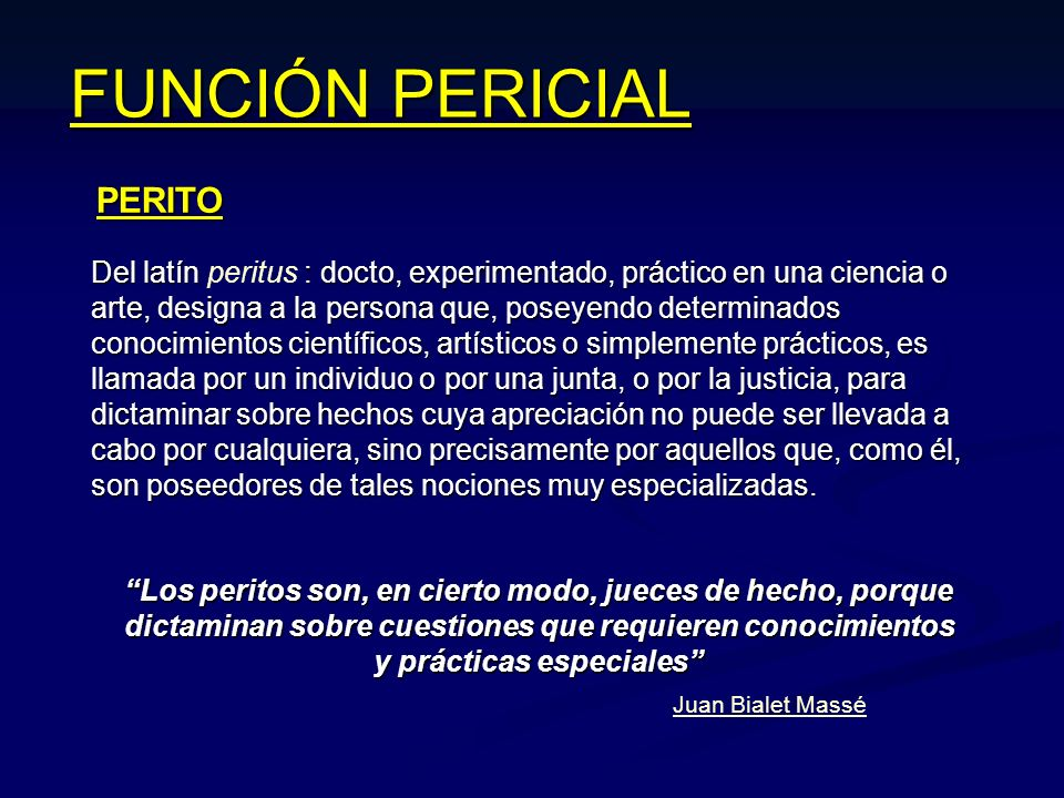 FUNCIÓN PERICIAL PERITO