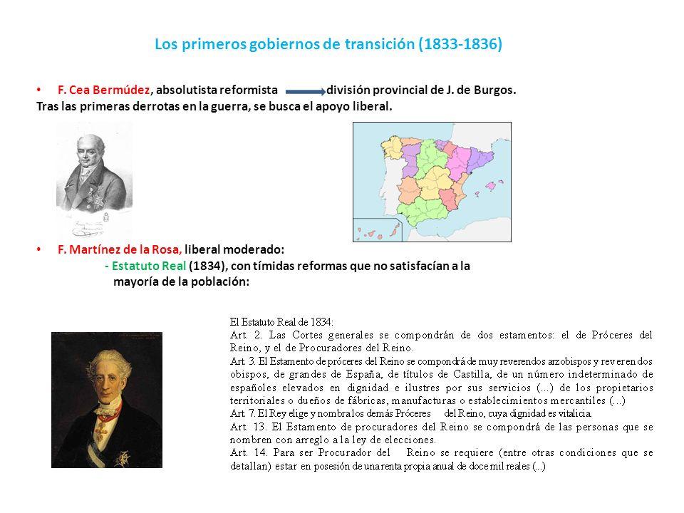 Los primeros gobiernos de transición (1833-1836)