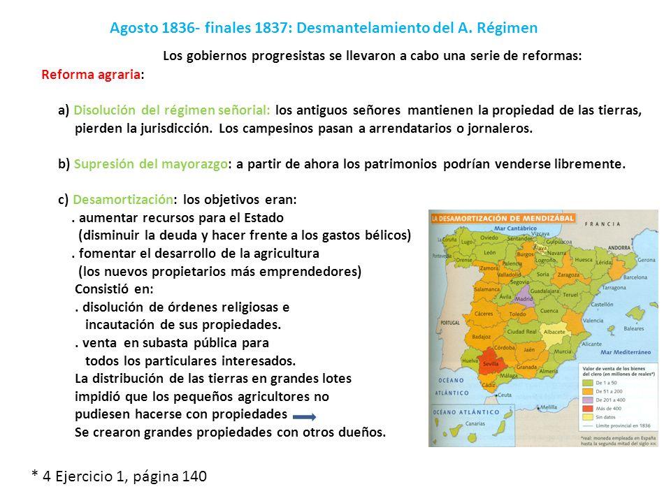 Agosto 1836- finales 1837: Desmantelamiento del A. Régimen