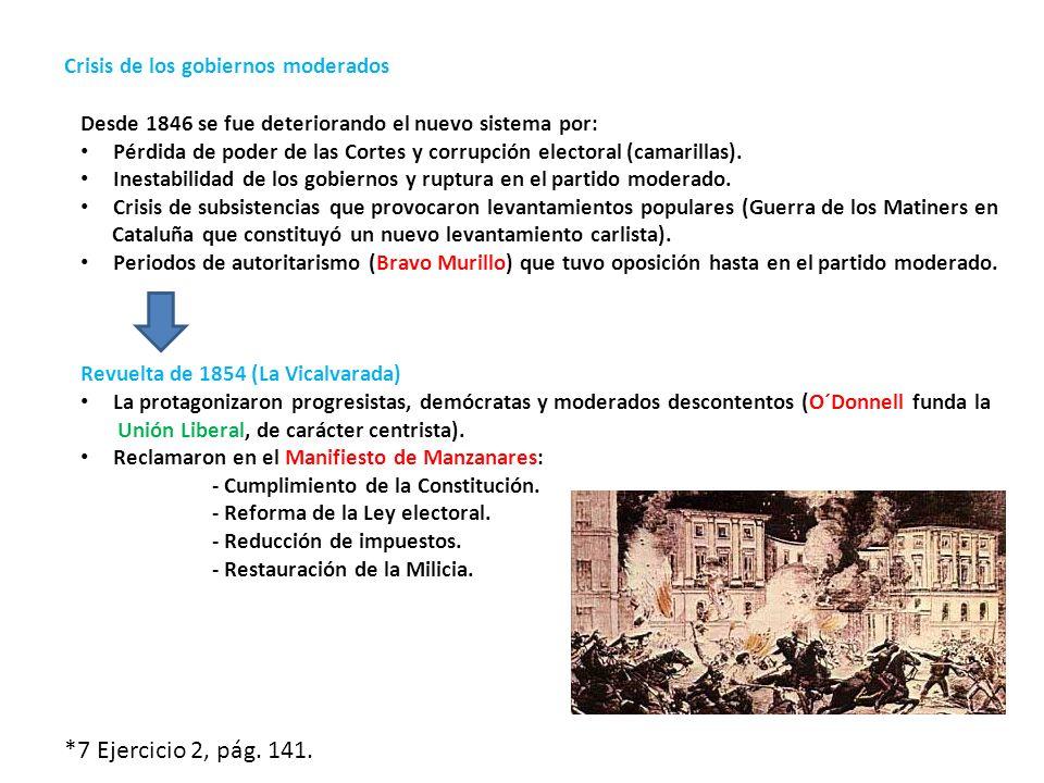 *7 Ejercicio 2, pág. 141. Crisis de los gobiernos moderados
