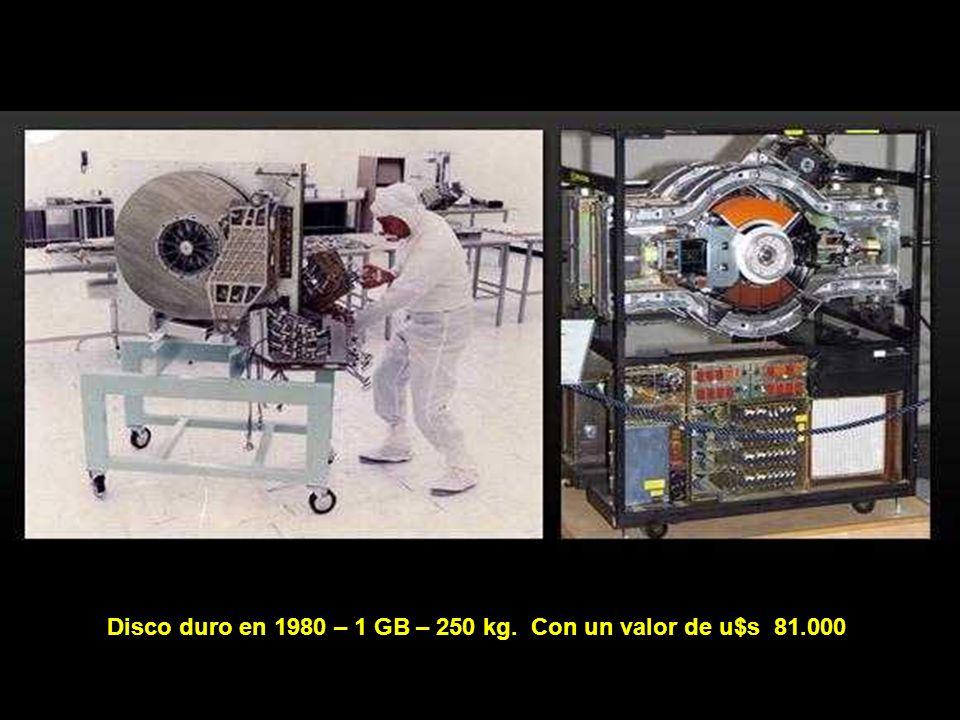 Disco duro en 1980 – 1 GB – 250 kg. Con un valor de u$s 81.000