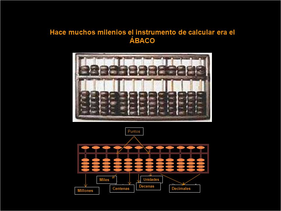 Hace muchos milenios el instrumento de calcular era el ÁBACO