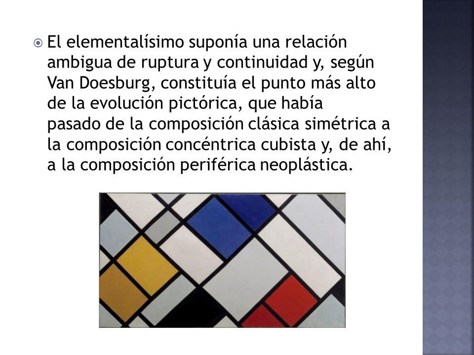 El elementalísimo suponía una relación ambigua de ruptura y continuidad y, según Van Doesburg, constituía el punto más alto de la evolución pictórica, que había pasado de la composición clásica simétrica a la composición concéntrica cubista y, de ahí, a la composición periférica neoplástica.
