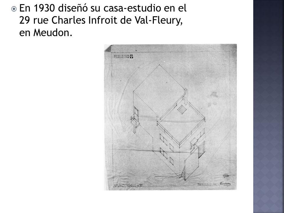 En 1930 diseñó su casa-estudio en el 29 rue Charles Infroit de Val-Fleury, en Meudon.