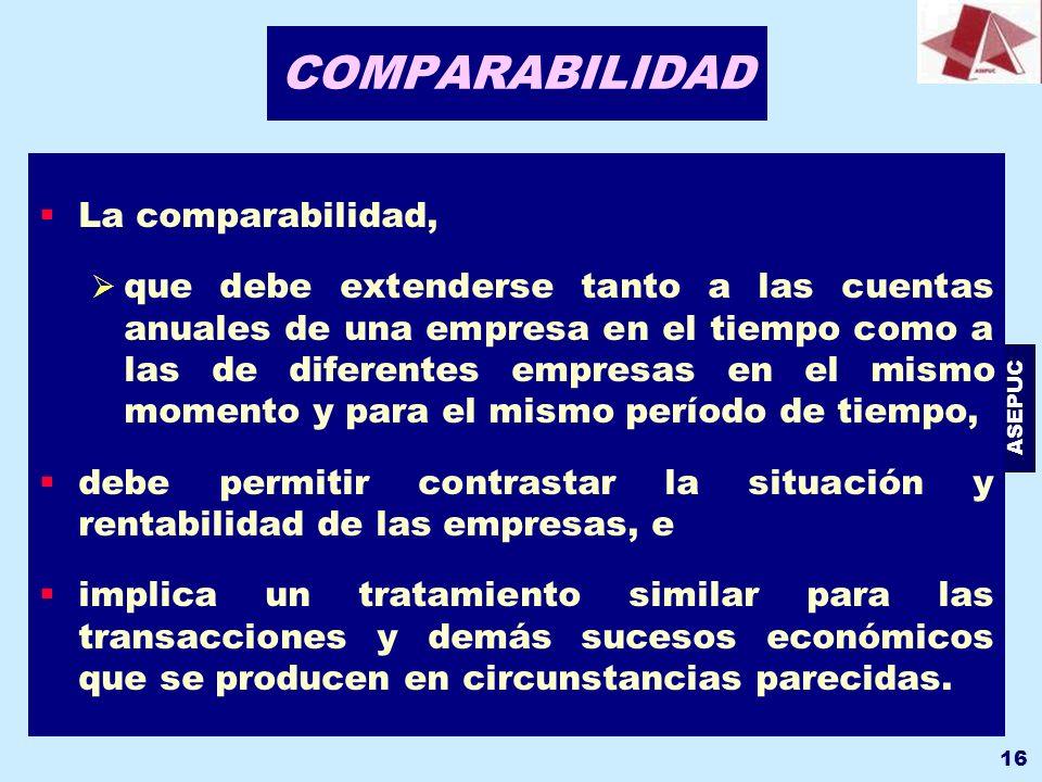 COMPARABILIDAD La comparabilidad,