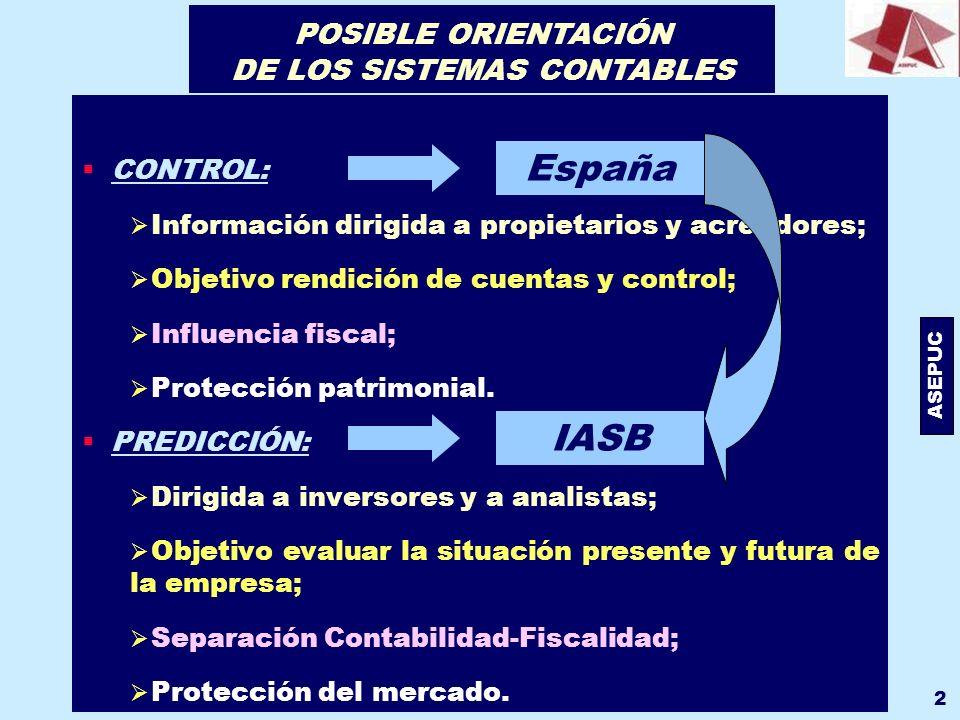 POSIBLE ORIENTACIÓN DE LOS SISTEMAS CONTABLES