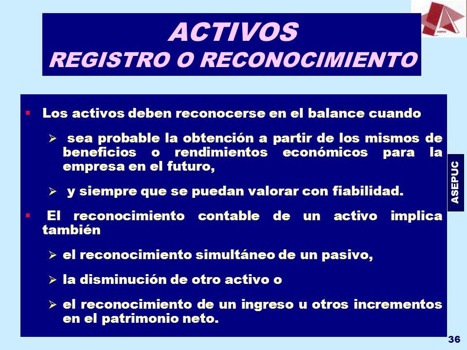 ACTIVOS REGISTRO O RECONOCIMIENTO