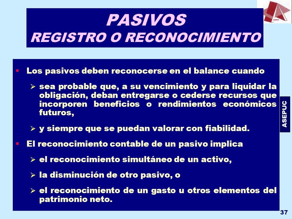 PASIVOS REGISTRO O RECONOCIMIENTO