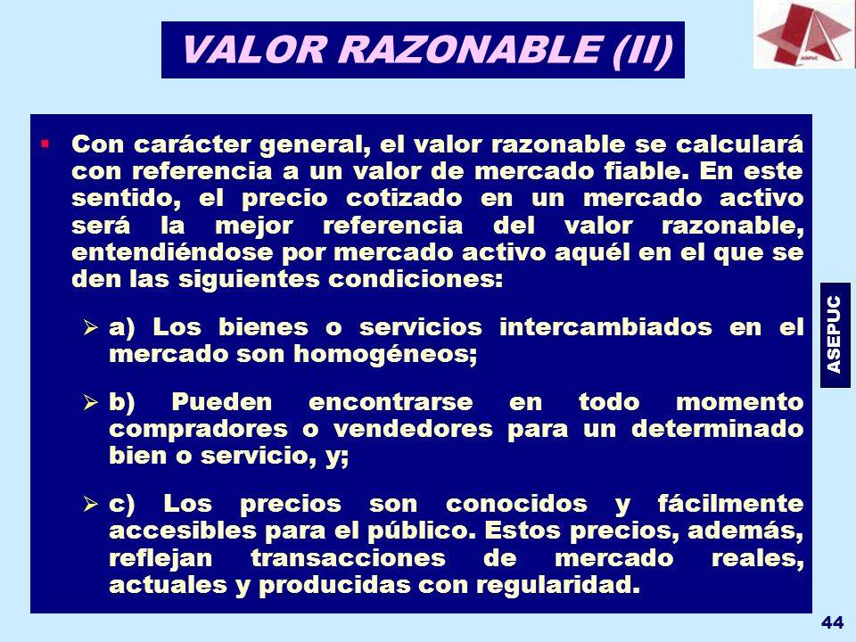 VALOR RAZONABLE (II)