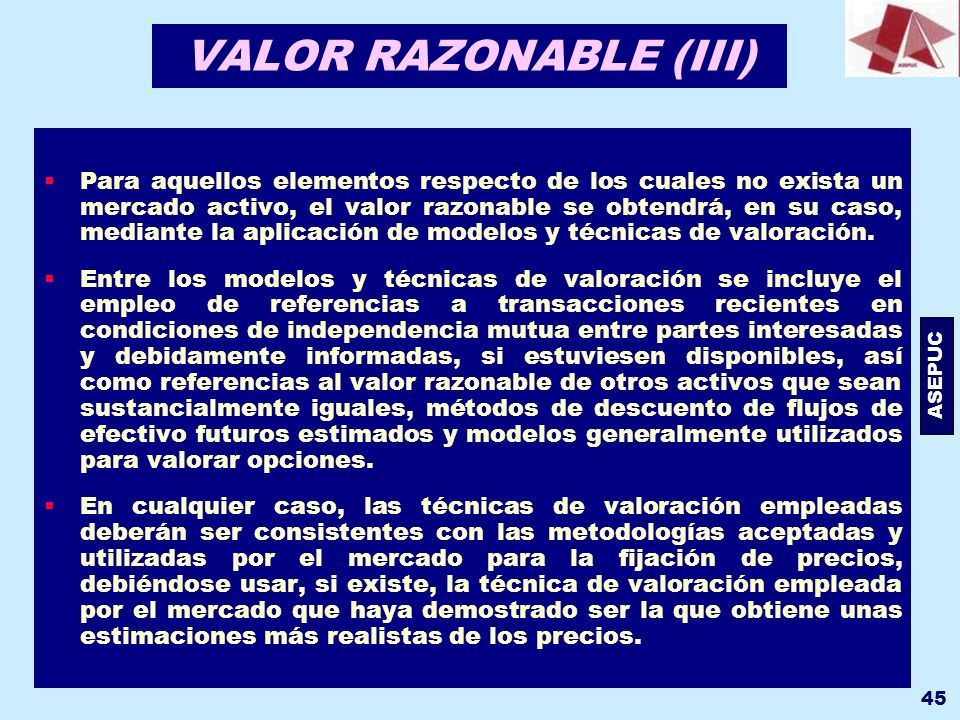 VALOR RAZONABLE (III)