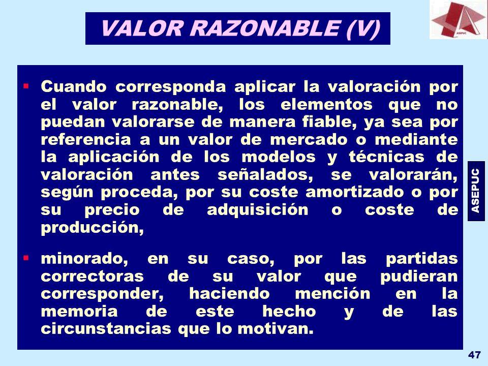 VALOR RAZONABLE (V)