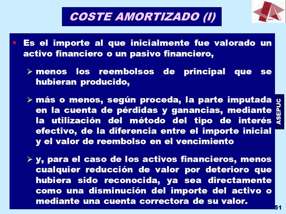 COSTE AMORTIZADO (I) Es el importe al que inicialmente fue valorado un activo financiero o un pasivo financiero,