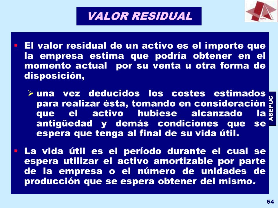 VALOR RESIDUAL