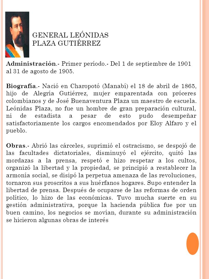 GENERAL LEÓNIDAS PLAZA GUTIÉRREZ
