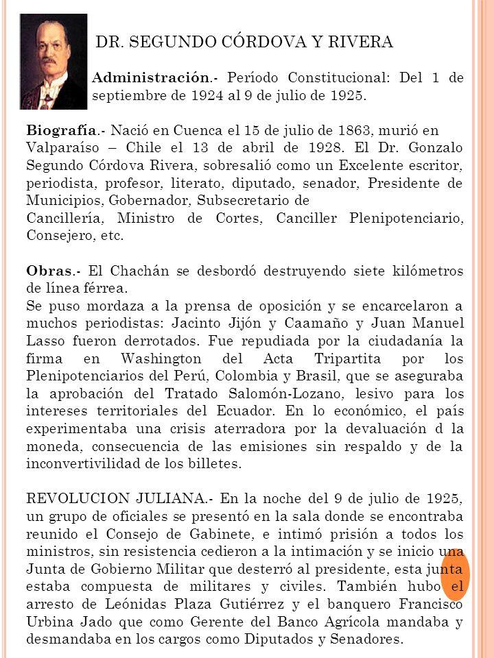 DR. SEGUNDO CÓRDOVA Y RIVERA