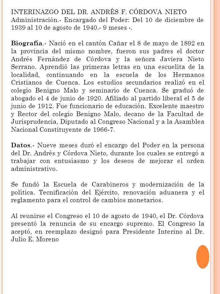 INTERINAZGO DEL DR. ANDRÉS F. CÓRDOVA NIETO