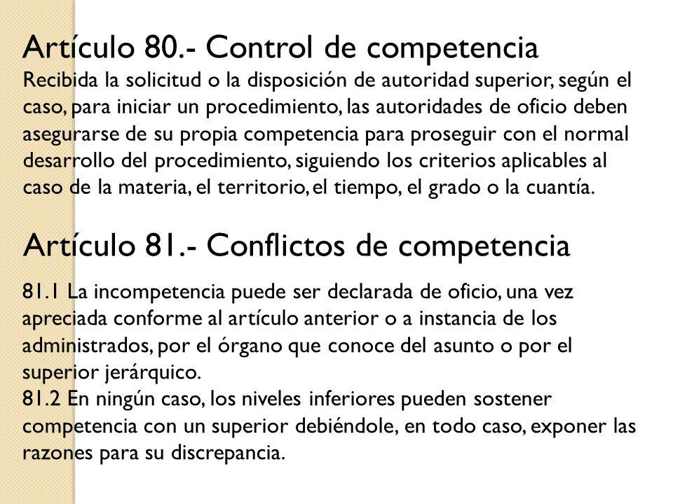 Artículo 80.- Control de competencia