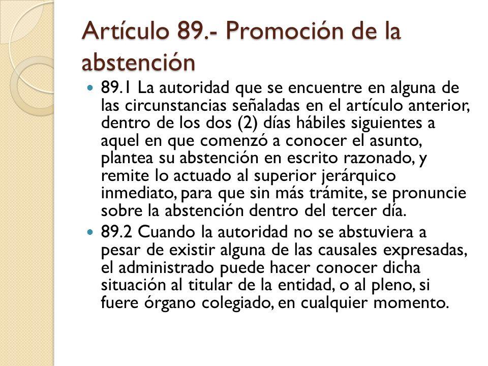 Artículo 89.- Promoción de la abstención
