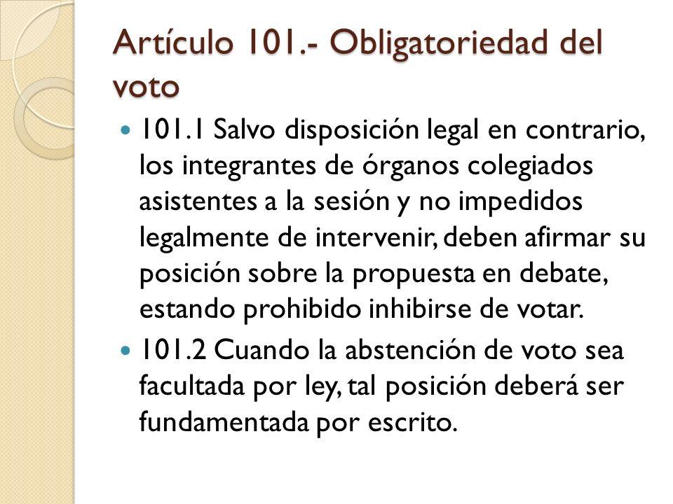 Artículo 101.- Obligatoriedad del voto