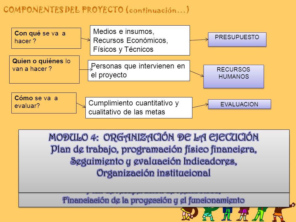 COMPONENTES DEL PROYECTO (continuación…)