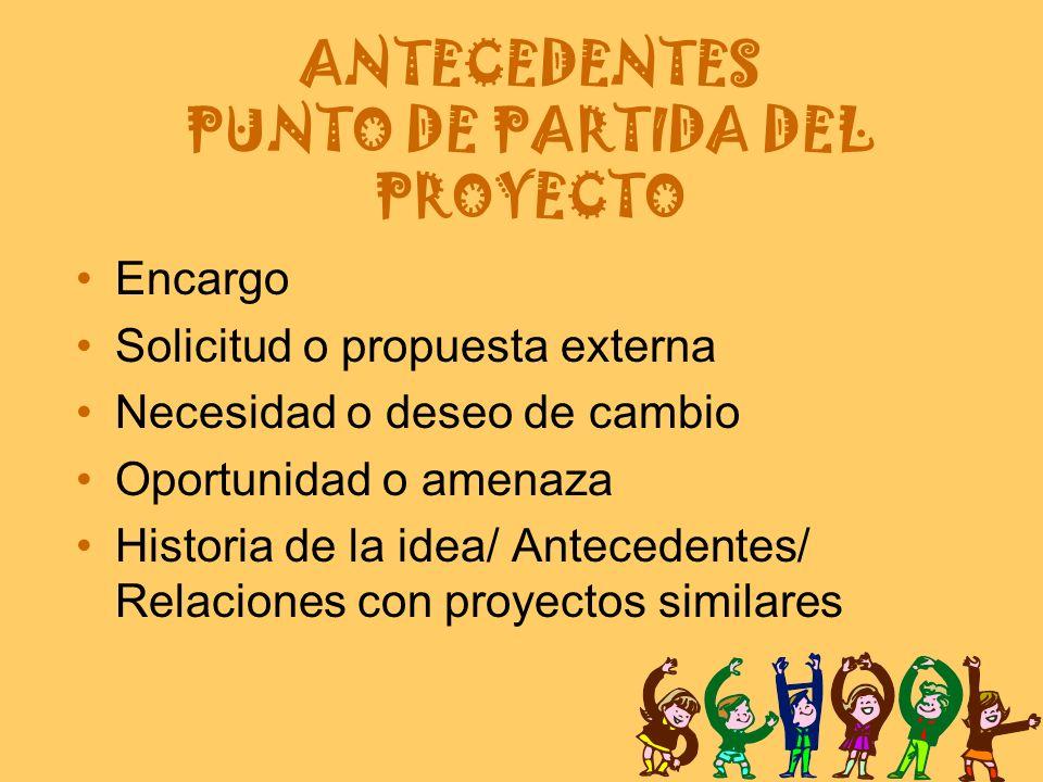 ANTECEDENTES PUNTO DE PARTIDA DEL PROYECTO