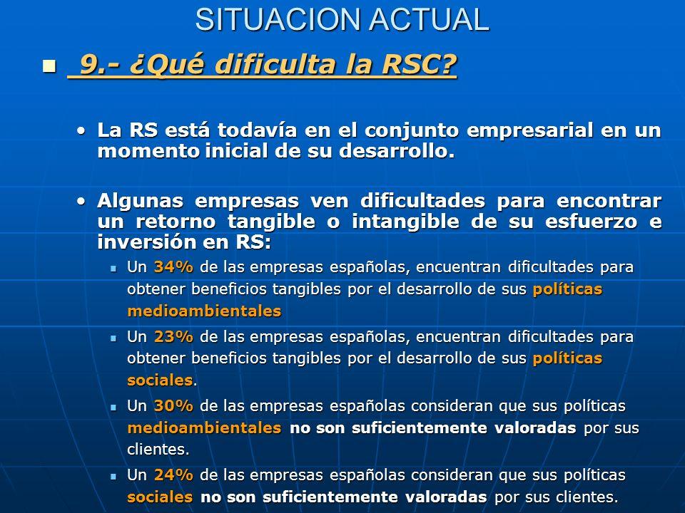 9.- ¿Qué dificulta la RSC SITUACION ACTUAL