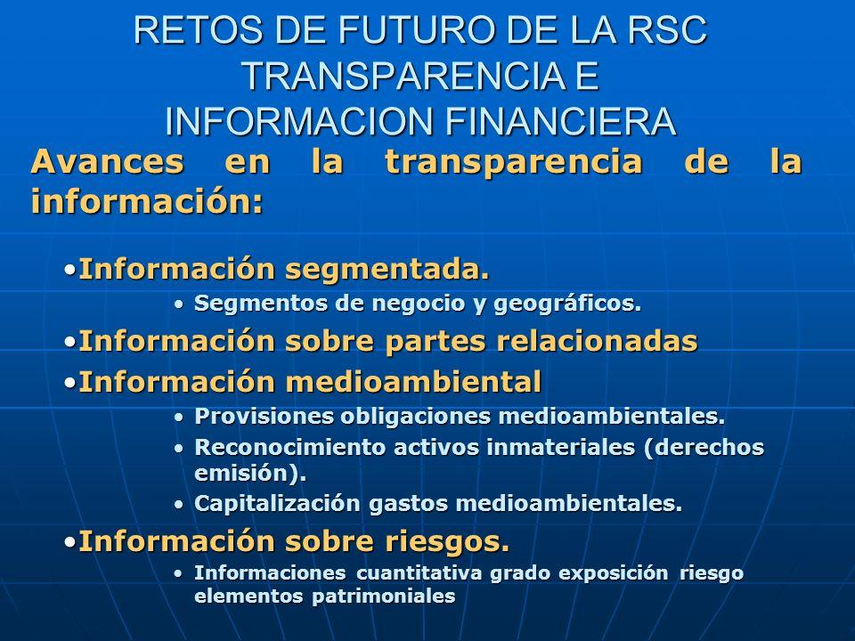 RETOS DE FUTURO DE LA RSC TRANSPARENCIA E INFORMACION FINANCIERA