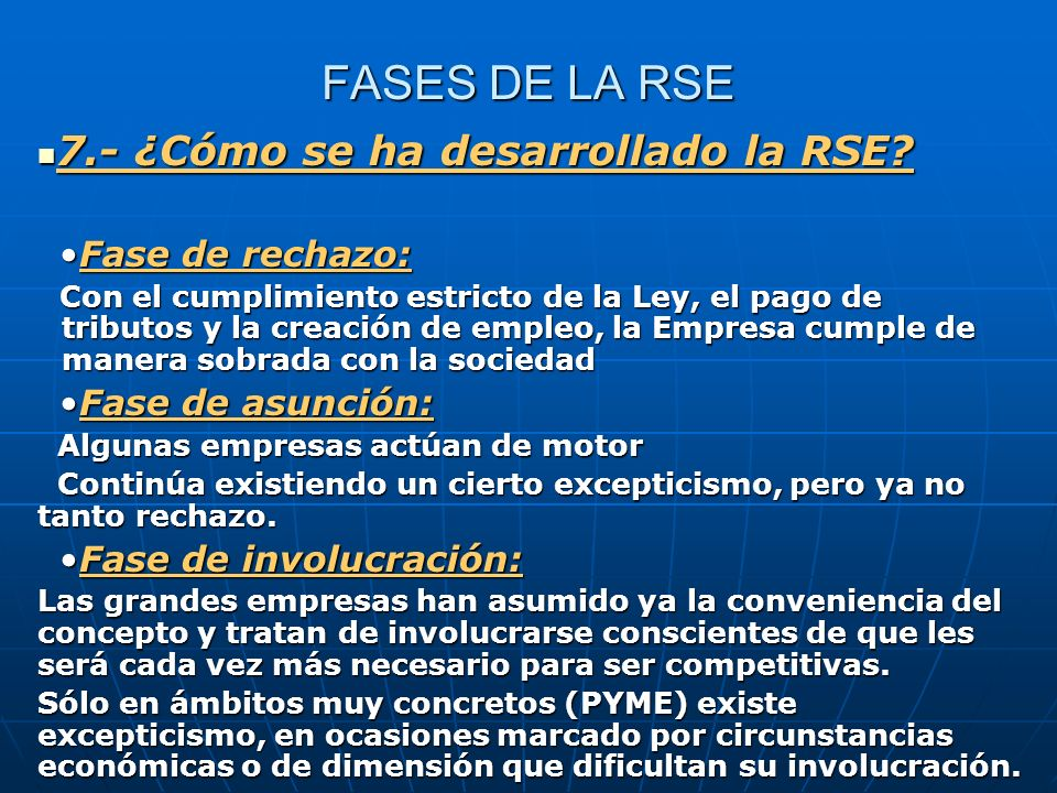 FASES DE LA RSE 7.- ¿Cómo se ha desarrollado la RSE Fase de rechazo: