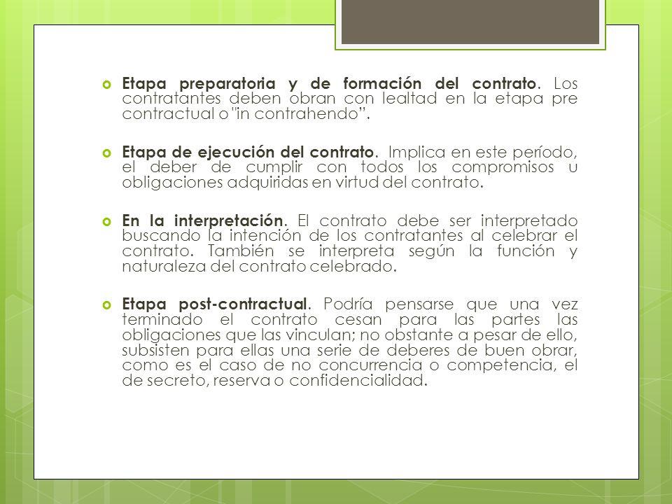 Etapa preparatoria y de formación del contrato