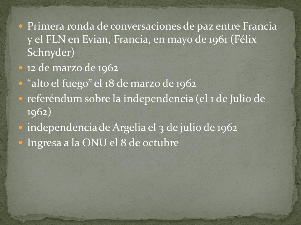 Primera ronda de conversaciones de paz entre Francia y el FLN en Evian, Francia, en mayo de 1961 (Félix Schnyder)