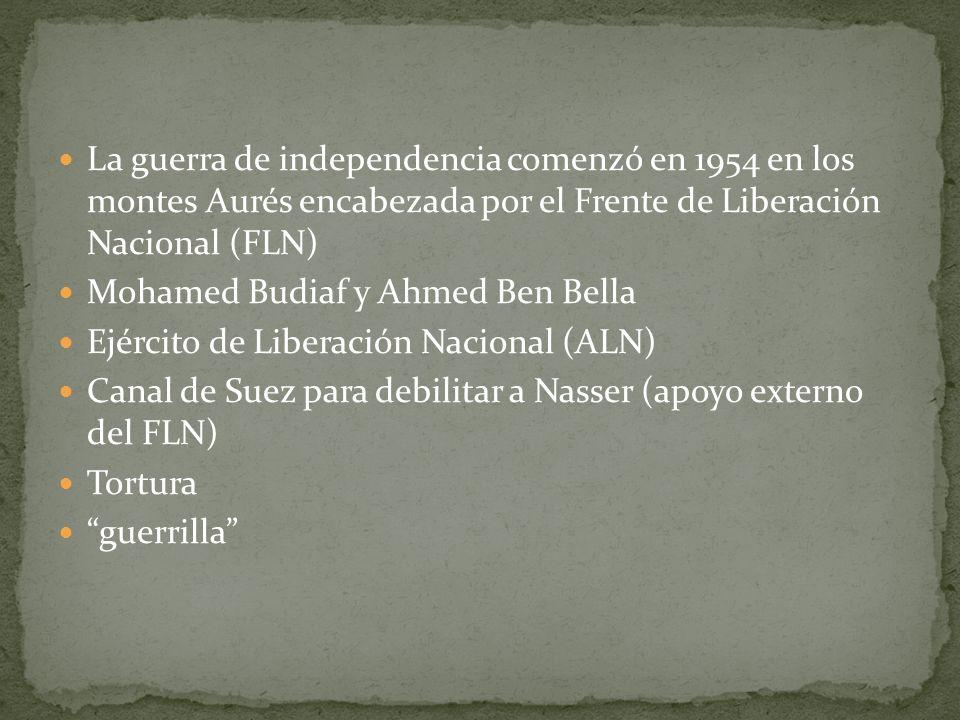 La guerra de independencia comenzó en 1954 en los montes Aurés encabezada por el Frente de Liberación Nacional (FLN)