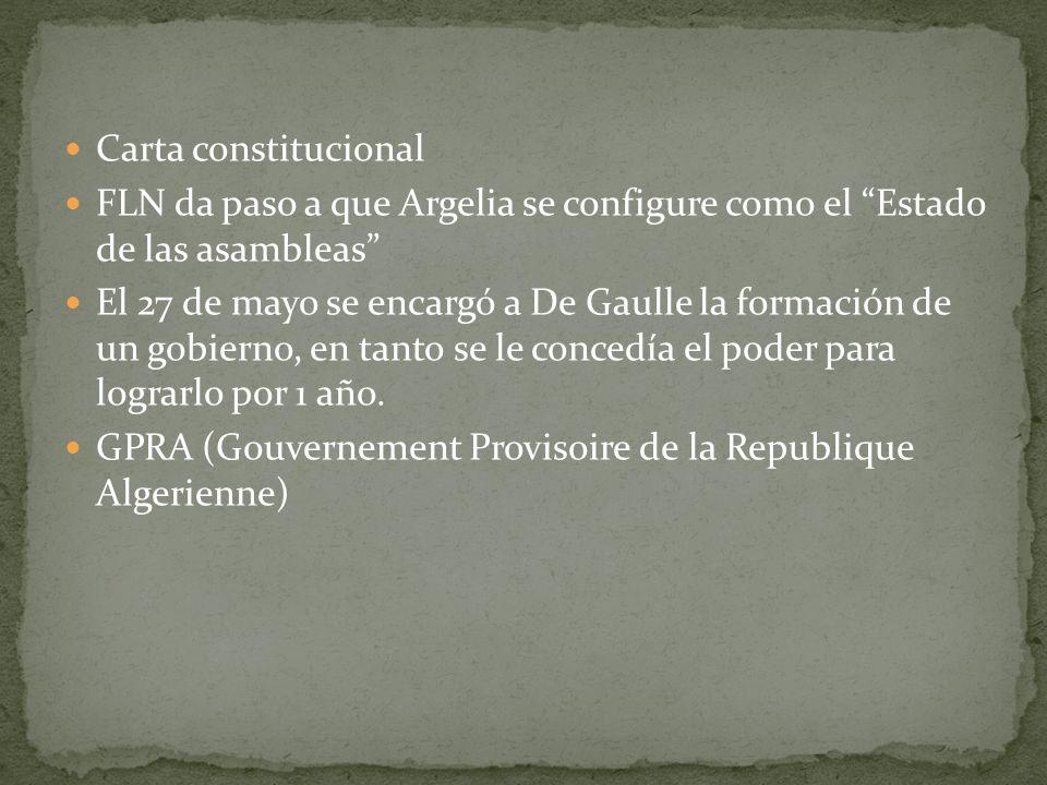 Carta constitucionalFLN da paso a que Argelia se configure como el Estado de las asambleas