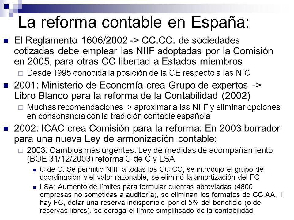 La reforma contable en España: