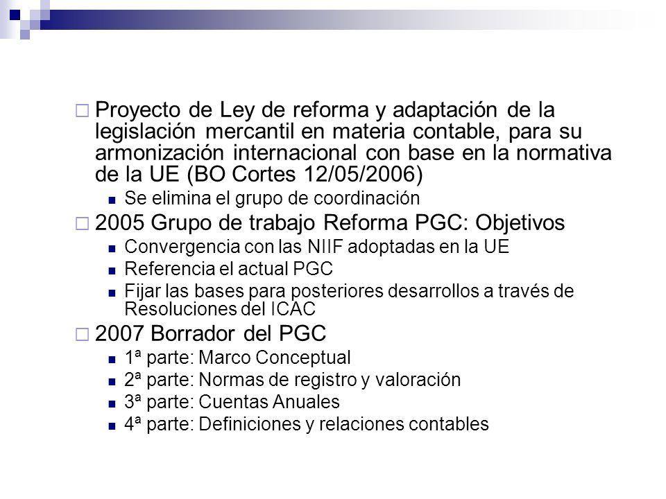 2005 Grupo de trabajo Reforma PGC: Objetivos