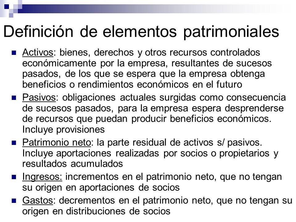 Definición de elementos patrimoniales