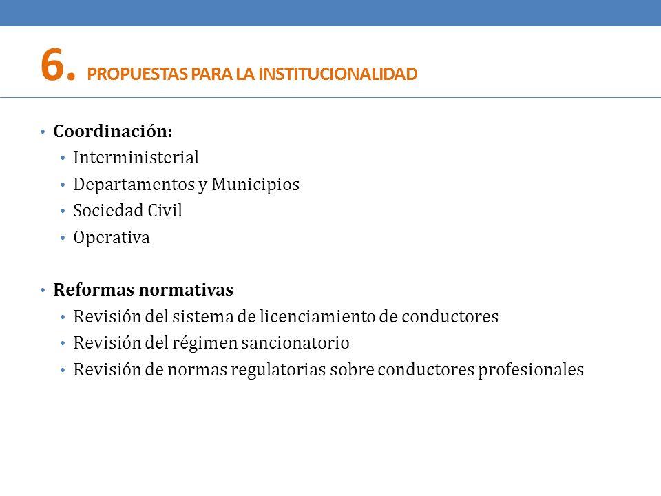 6. PROPUESTAS PARA LA INSTITUCIONALIDAD