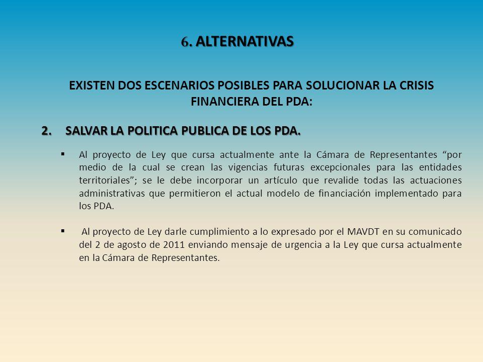 6. ALTERNATIVAS EXISTEN DOS ESCENARIOS POSIBLES PARA SOLUCIONAR LA CRISIS FINANCIERA DEL PDA: SALVAR LA POLITICA PUBLICA DE LOS PDA.