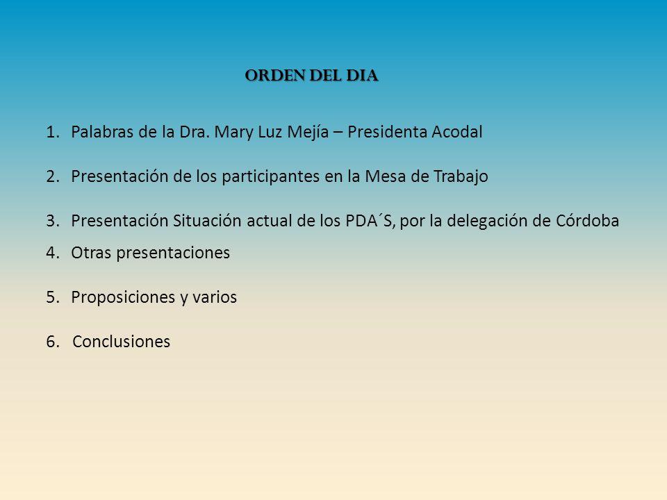 Palabras de la Dra. Mary Luz Mejía – Presidenta Acodal. Presentación de los participantes en la Mesa de Trabajo.