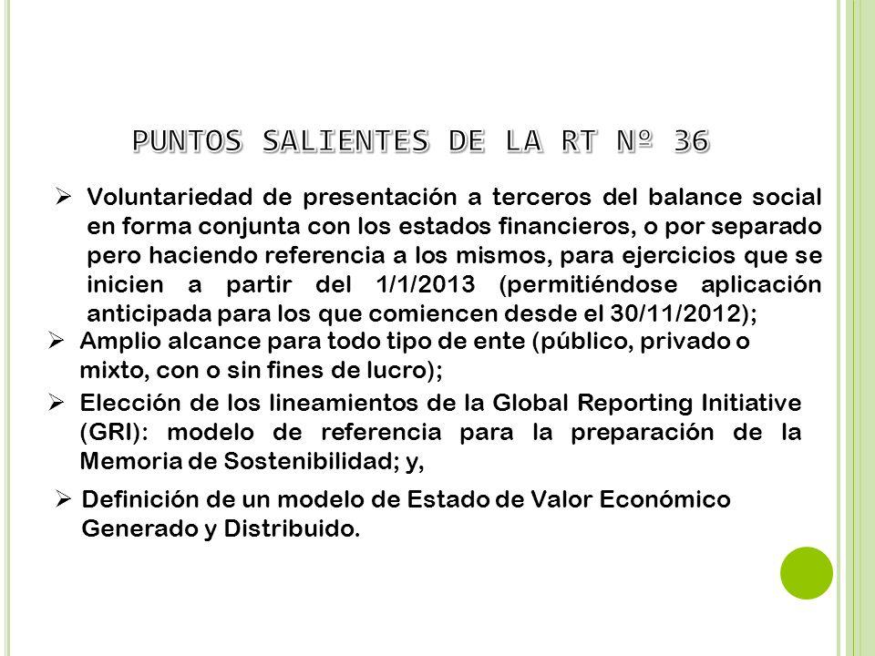 PUNTOS SALIENTES DE LA RT Nº 36