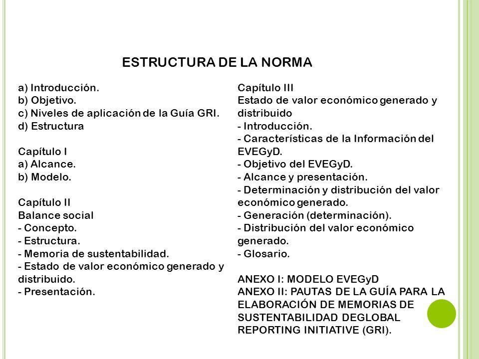 ESTRUCTURA DE LA NORMA a) Introducción. Capítulo III b) Objetivo.
